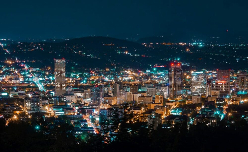 View of Portland, Oregon at night