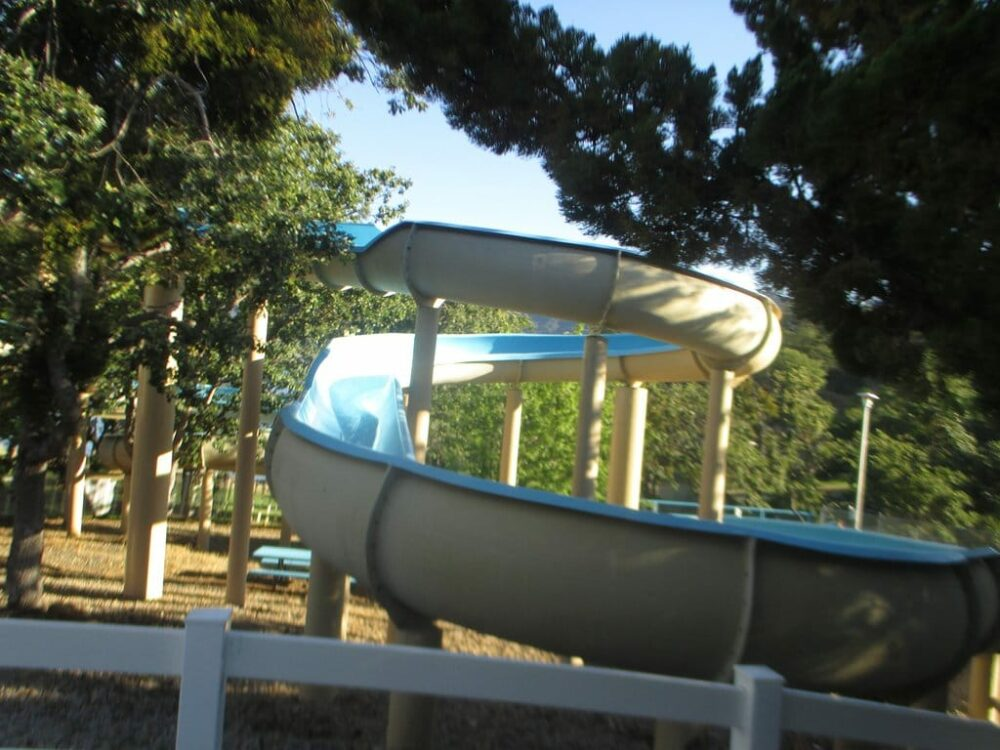 The Emigrant Lake waterslides are a fun place to be in the summer